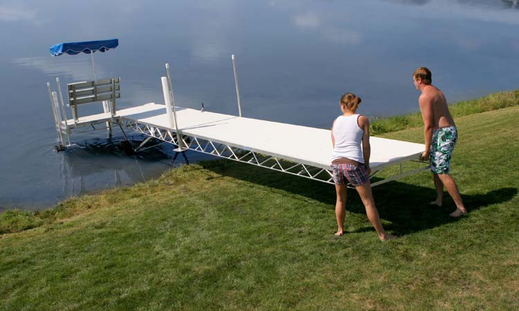 Hewitt Roll-A-Dock makes dock installation and removal easier.