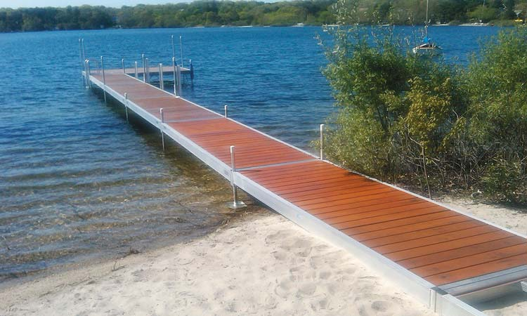 Example of Hewitt's Classic Dock with the Cedar Stain option