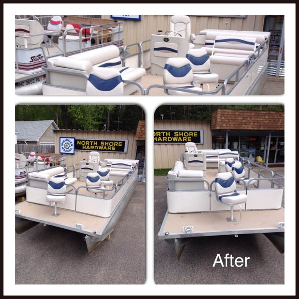 Pontoon after being customized for fishing by Michigan Marine