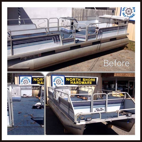 Pontoon before being rebuilt, repaired, and refurbished by Michigan Marine